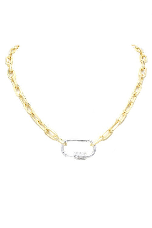18k Gold Plated Carabiner Lock Necklace