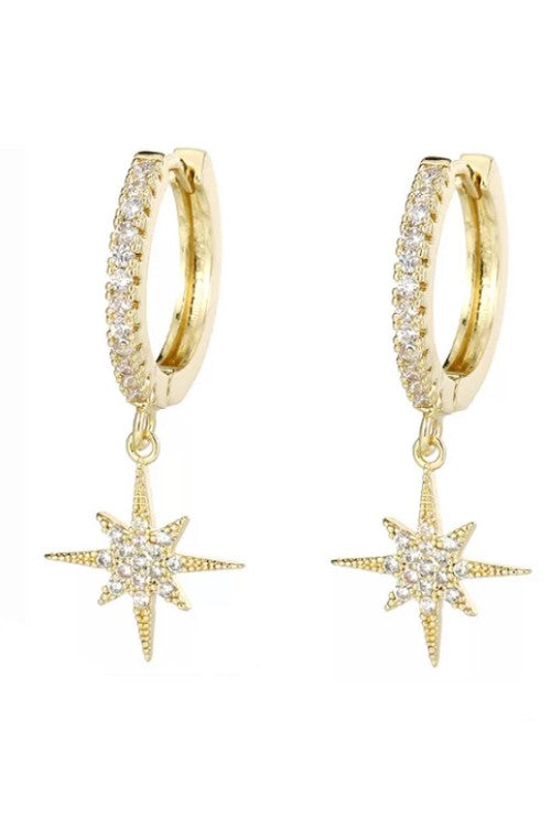 Starburst Charm 18k Gold Plated Hoop Earring