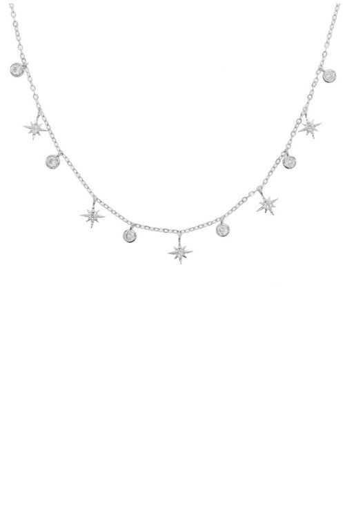 CZ Studded Starburst 18k Gold Plated Charm Necklace