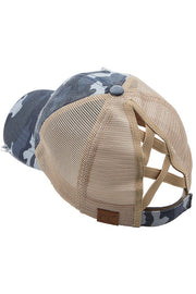 Camo Criss Cross Pony Hat