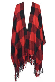 Buffalo Check Cape with Fringes (Red)