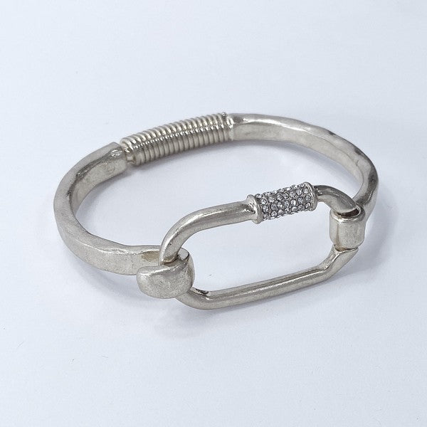 Oval Open Hinge Bracelet With Pave Detail