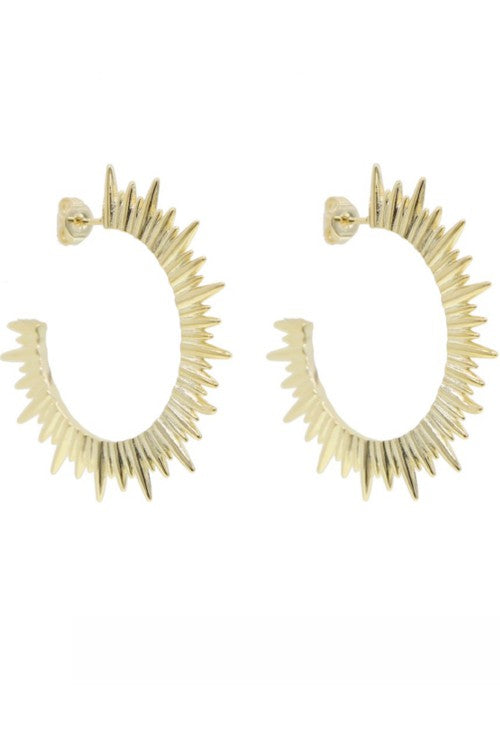 Starburst Spike 18k Gold Hoop Earring