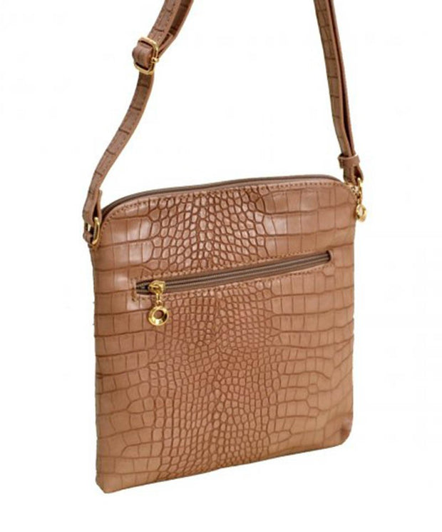 Croc Print Zip Tassel Crossbody Bag