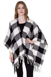 Copy of Buffalo Check Cape with Fringes (White)
