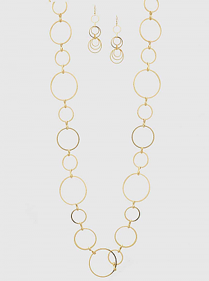 Multi sized open circles linked long necklace