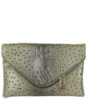 Crocodile Embossed Vegan Leather Clutch Bag