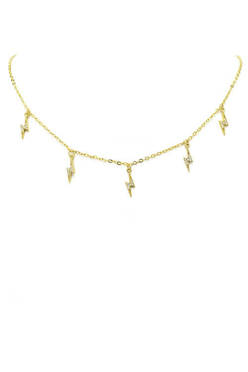 Lightning Bolt Dangle Charm 18k Gold Plated Necklace