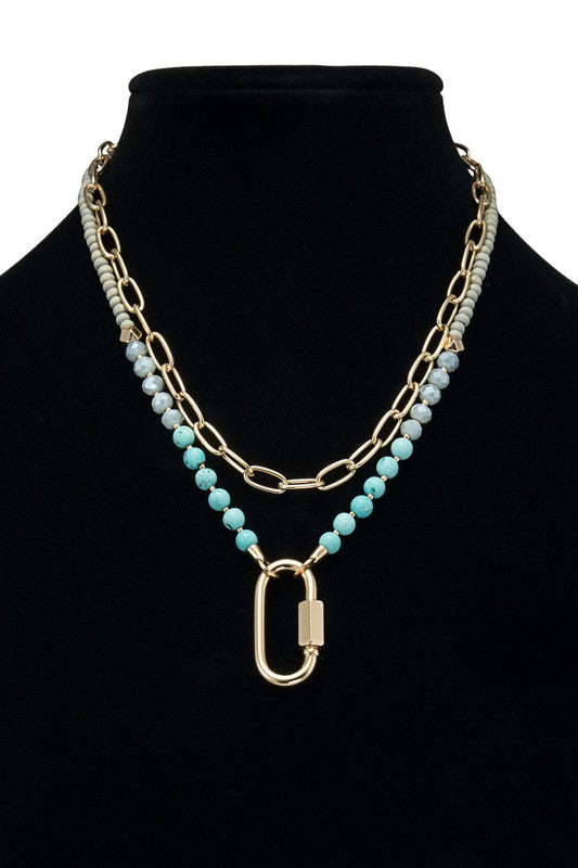 Christine 2 Layer Carabiner Lock Necklace