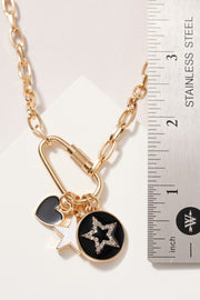 Lisa Carabiner Lock With Star Charms Necklace