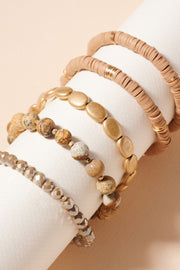 Emberly Mix Bead Bracelet Stack (5 Bracelet Set)