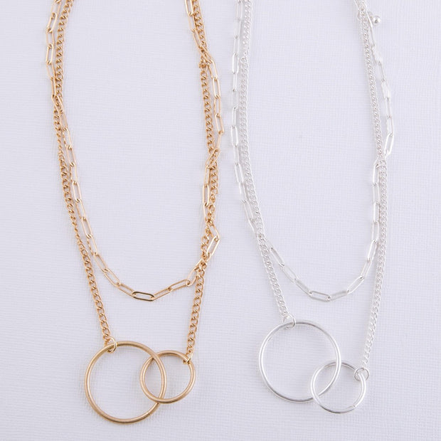 Layered Asymmetrical Circle Linked Necklace