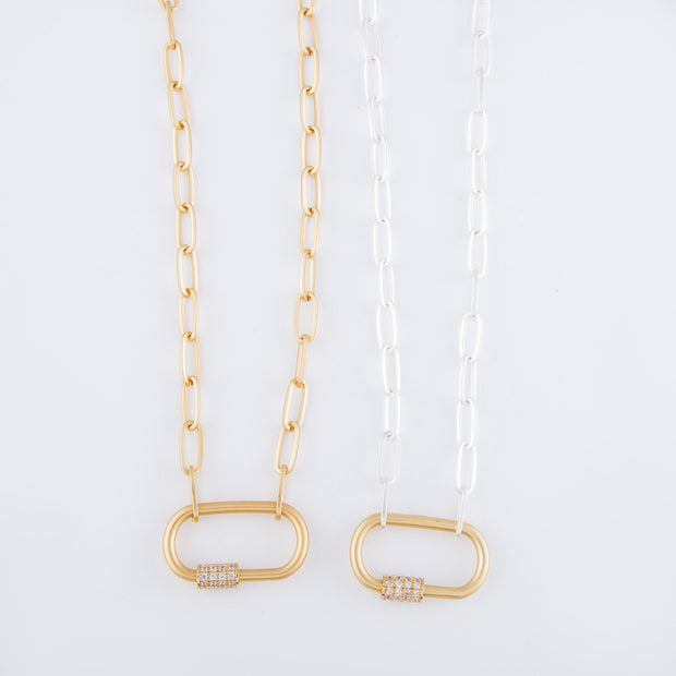 Carabiner Lock Chain Link Necklace