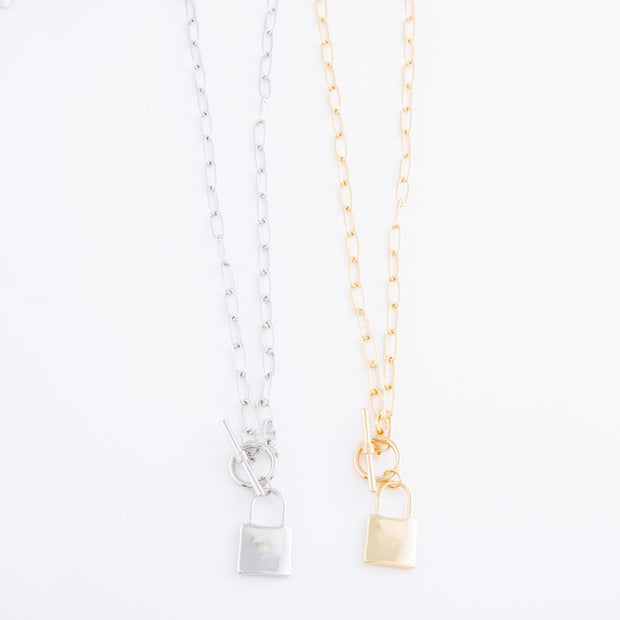Lock Pendant Chain Link Necklace