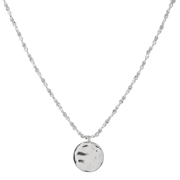 Hammered Circle Pendant Necklace with Rope Chain