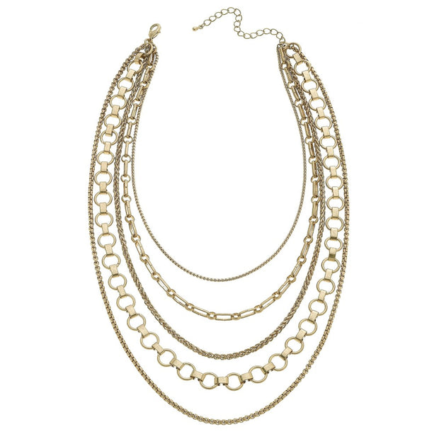 Zoe Layered Mixed Media Chain Link Necklace in Worn Gold