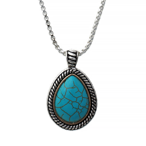 Turquoise Teardrop Pendant Chain Necklace