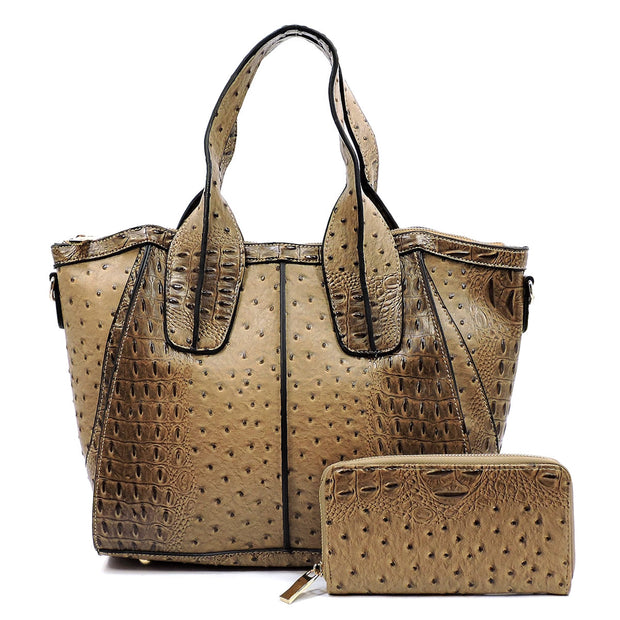 Ostrich Embossed Satchel