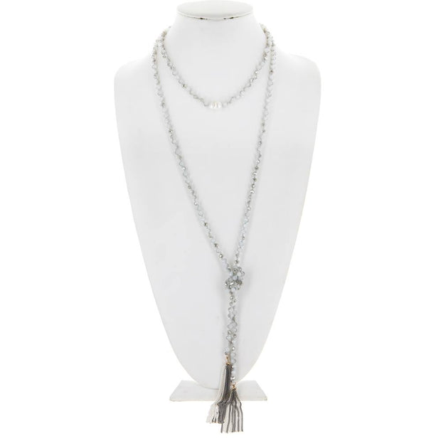 CRYSTAL BEADED NECKLACE W/ FRESH WATER PEARL AND CHAIN TASSEL