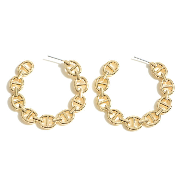Claire Flat Chain Link Hoop Earrings