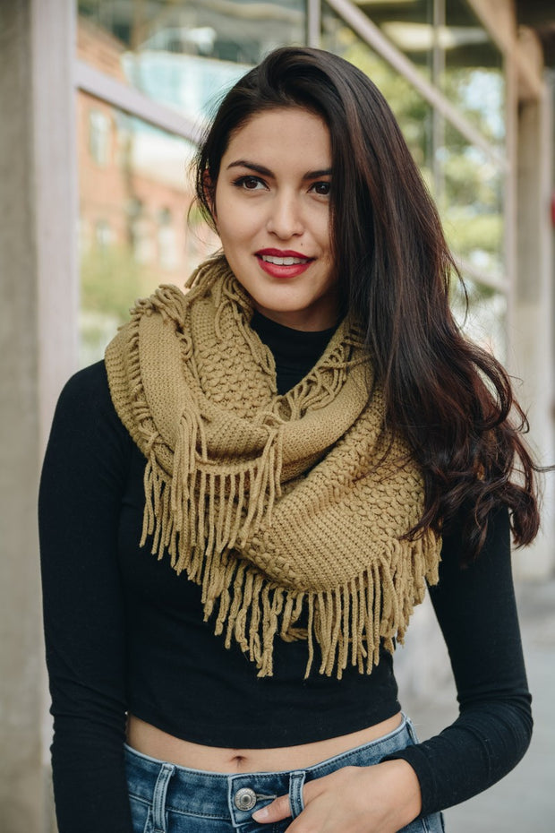 Knit Wrap Infinity Scarf With Fringe