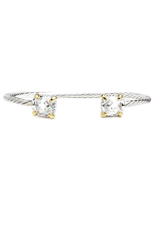 Open Cuff Bracelet with Cushion Cut CZ Ends
