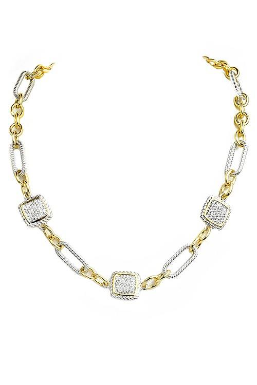 Linked Chain Necklace With Pave CZ Squares