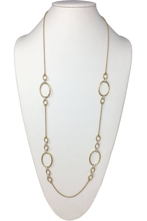 Oval Link Two-Tone Station Long Necklace