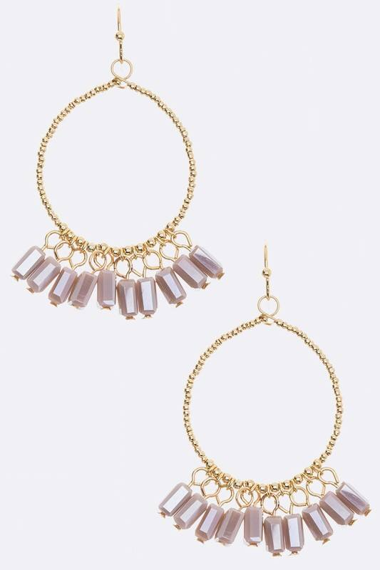 Fringe Beads Hoop Earrings