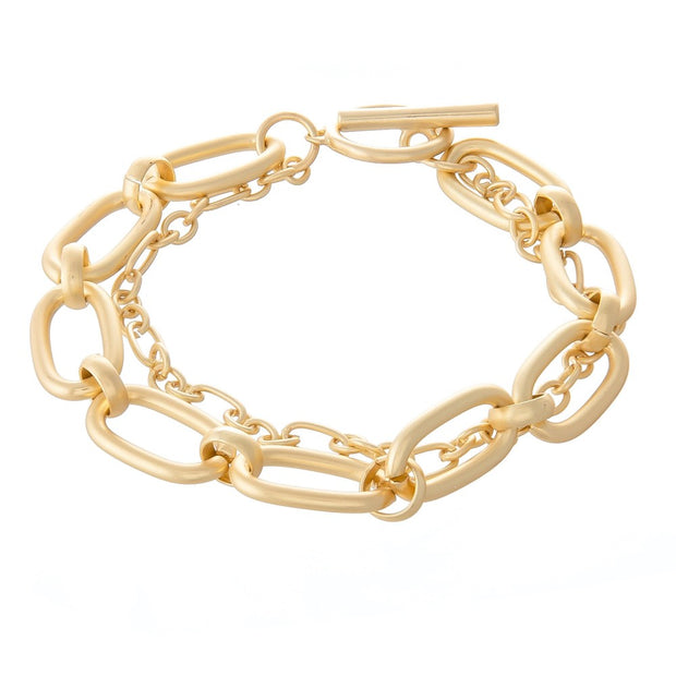 Chain Link Layered Toggle Bar Bracelet