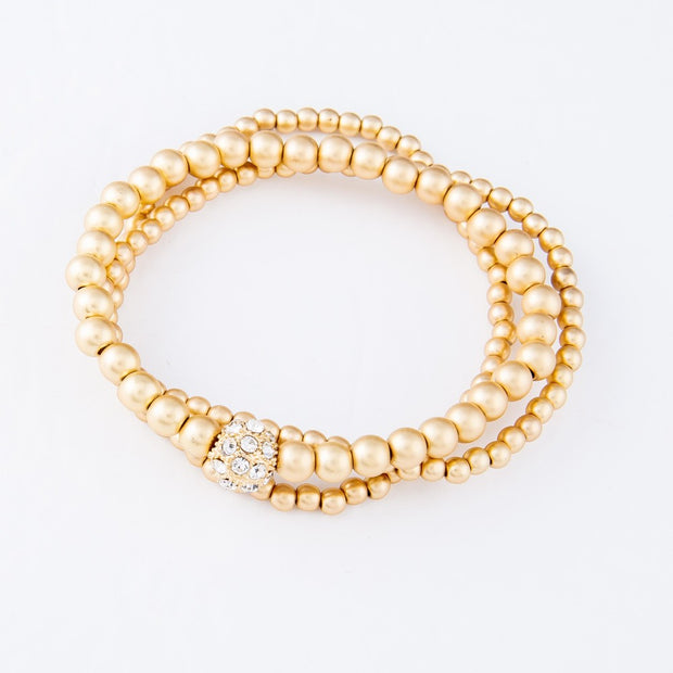 Daria Pavé Beaded Bracelets in Matte Gold (Set of 3)