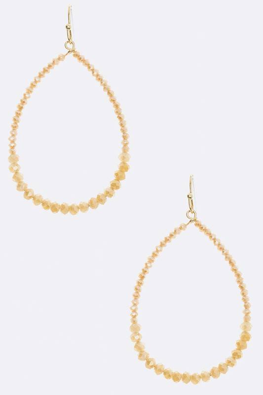 Delicate Beaded Oval Hoop Earrings