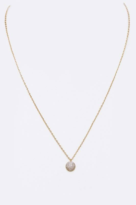 Micro Setting Pave Round CZ Pendant Necklace
