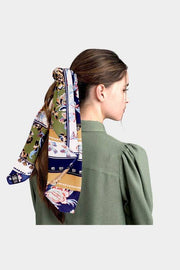 Flower & Leaf Mixed Pattern Print Scarf