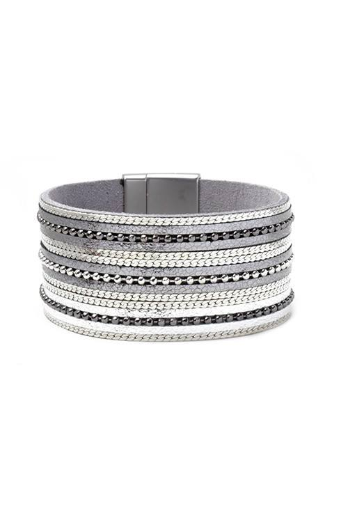 Metallic Silver Leather Magnetic Bracelet w/ Beads
