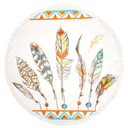 Feather Print Roundie Beach Towel / Blanket