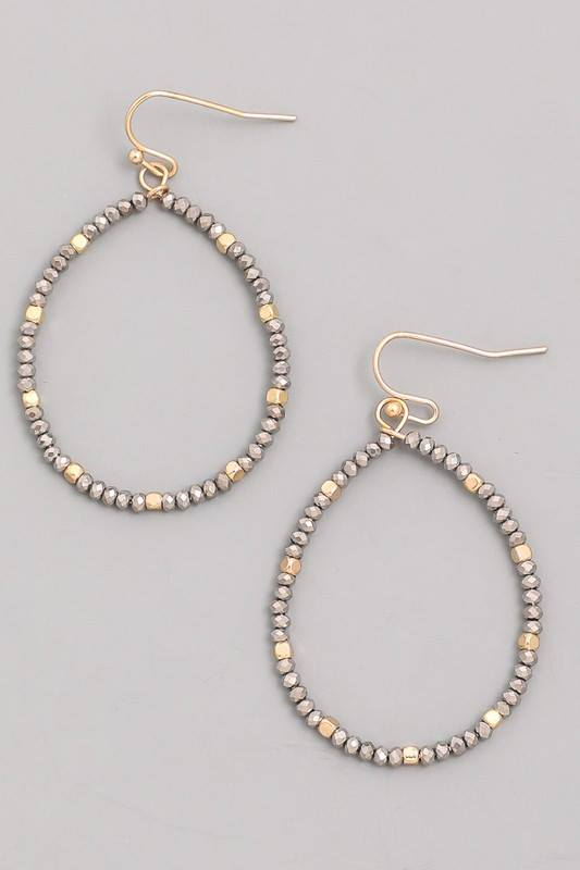 Delicate Beaded Oval Earrings With Gold Spacers