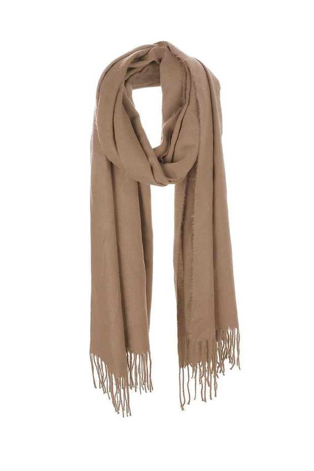 Soft Solid Color Tassel Oblong Scarf