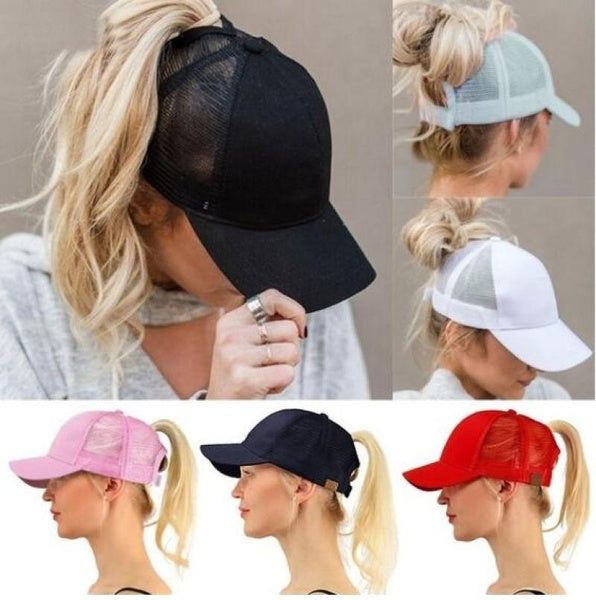 Sleek Black Ponytail Hat