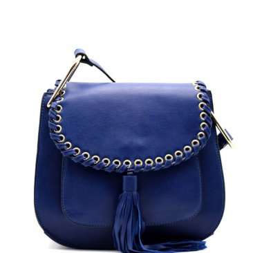 Whipstitched Grommet Accent Tassel Flap Crossbody