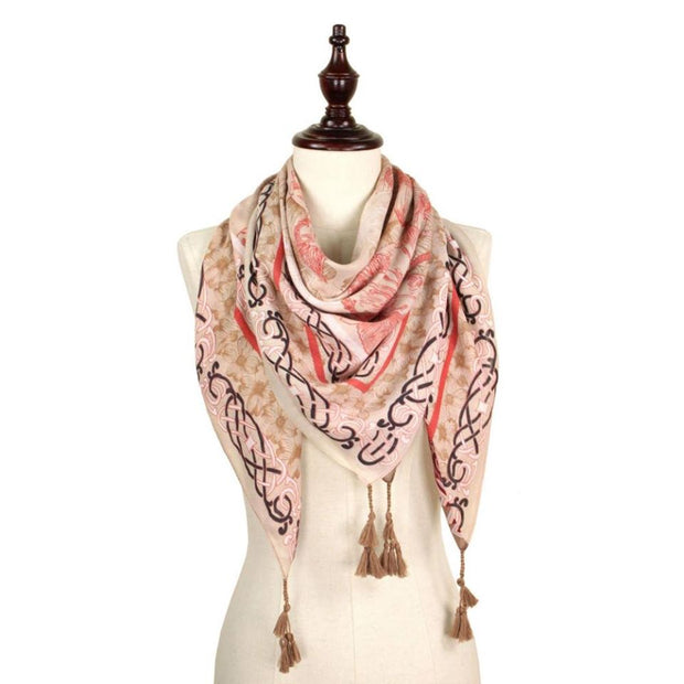 Flower Print Square Scarf With Tassels