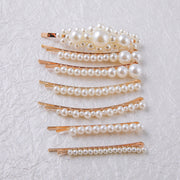 Gold Slide In Hair Barrettes Featuring Faux Pearl Accents (2 barettes per set)