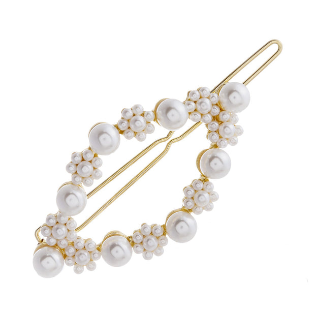 Intricate Faux Pearl & Gold Accent Hair Barette With  Snap Enclosure