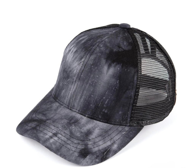 Tie-Dye Ponytail Hat (Black)