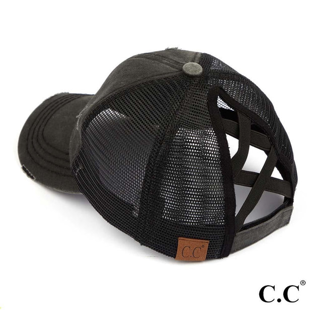 Distressed Criss Cross Pony Baseball Hat