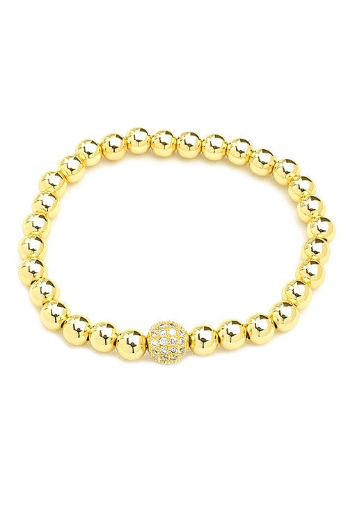 Gold Plated CZ Beaded Stretch Bracelet