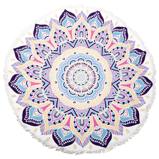 Floral Fringe Luxury Roundie Beach Towel