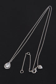 Small Teardrop Rhinestone Outline CZ Necklace