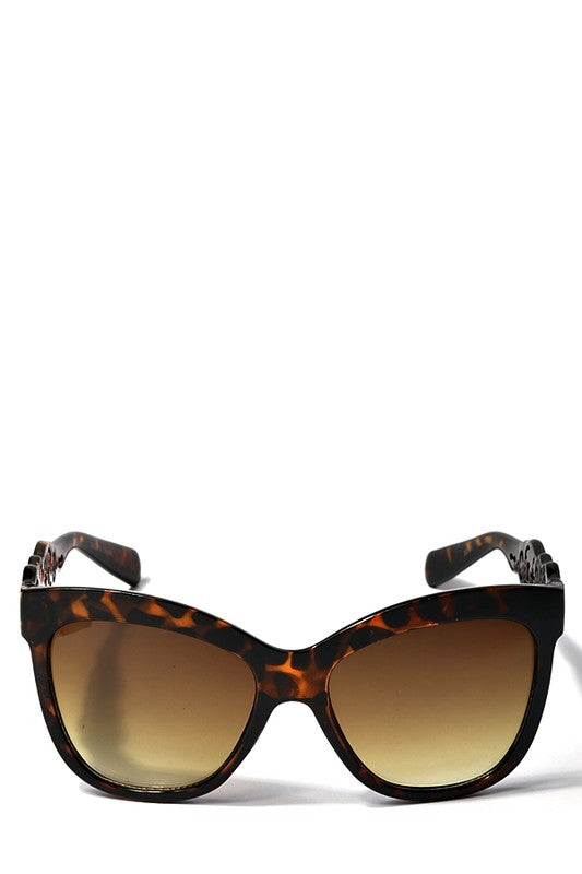 Cat Eye Sunglasses With Laser Cut Detail