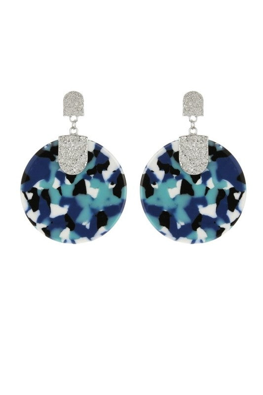 Round Multi Color Acetate Post Statement Earring